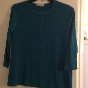 Teal long sleeved JM Collection petite t shirt